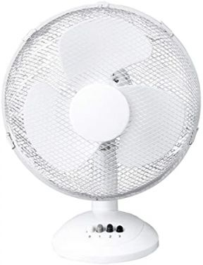Daewoo 12-Inch Table, Portable Desk Fan for Home/Office, 3 Speed Settings & Easy-to-Use Key Switch, White, 12 Inch