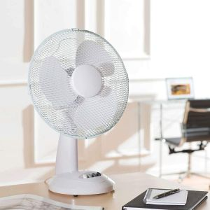 12-Inch Table, Portable Desk Fan for Home/Office, 3 Speed Settings & Easy-to-Use Key Switch, White, 12 Inch