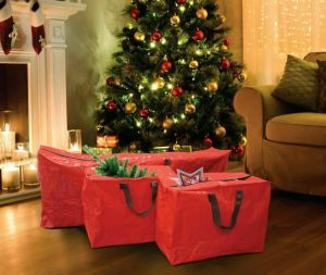 Red 3 X Large Christmas Storage Zip Bags Tree, Decorations, Lights With Handles