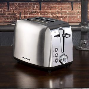 Daewoo Kingsbury 2 Slice Stainless Steel Dial Toaster   Adjustable Browning Control with Retro Design Knob