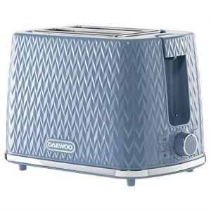 Daewoo Argyle Collection 2 Slice Patterned Toaster 6 Time Settings Light Blue