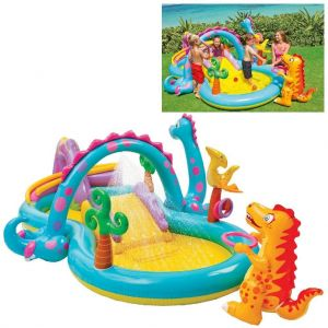 Intex Dinoland Childrens Activity Water Play Centre Paddling Pool Slide Spray
