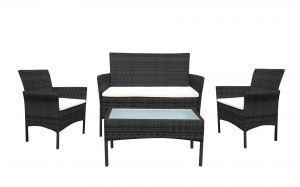Fine Garden 4 Pieces Patio Outdoor Rattan Furniture Set, Garden Backyard Balcony Porch Poolside Furniture Set