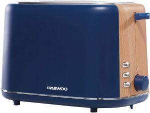 Daewoo Stockholm 2 Slice Blue Matte Finish Wood Effect Toaster 6 Time Settings