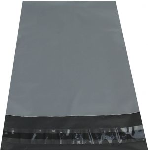 Grey Mailing Bags Strong Poly Postal Postage Post Mail Self Seal [17x24, 100 Bags]