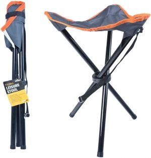 Milestone Camping 12080 Compact Outdoor Tripod Stool Folding Leisure Stool Camping Fishing Garden - Grey & Orange, L33xW33xH43cm