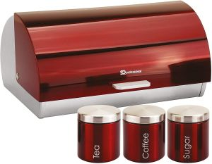 SQ Professional Gems Metallic Bread Bin and Canisters Red
