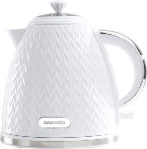 Daewoo Argyle 1.7L Plastic Removable & Washable Limescale Filter Lid Opening   Auto/Manual Switch Off Options   220-240V/50-60Hz/3KW   Concealed Heating Element, White Kettle