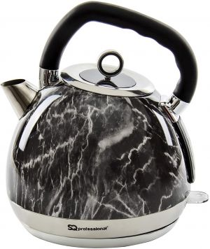 1.8L MARBLE EFFECT STAINLESS STEEL KETTLE 2200 WATTS PERFECT FOR YOUR KITCHEN[Black]