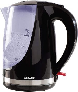 Daewoo 1.7L Kettle Colour Changing Indicator Lights-Stainless Steel Safety Locking Lid-Cordless Design-Black
