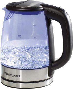 Daewoo Electric Iluminated Glass Body Kettle Hot Water Boiler Auto Shut-off