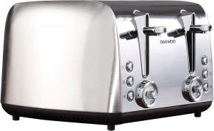 Daewoo Kingsbury 4 Slice Stainless Steel Dial Toaster  - Silver