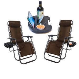 SET OF 2 ZERO GRAVITY GARDEN SUN LOUNGER TABLE CHAIR CUP WITH CUP HOLDER BROWN