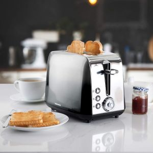 Daewoo Callisto 2 Slice Toaster with Reheat, Defrost & Cancel Controls, Slide Out Crumb Tray for Easy Cleaning, Self-Cantering and Browning Control Function, Anti-Jam Feature - Ombre Effect Silver