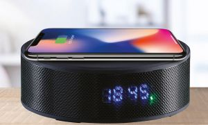 Daewoo Clock Radio Bluetooth Rechargeable Speaker With Qi Wireless Charging