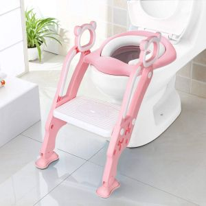 Toddler Toilet Training Seat Ladder with Sturdy Non-Slip Wide Step and Soft PINK
