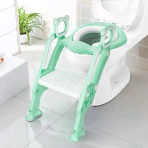 Toddler Toilet Training Seat Ladder with Sturdy Non-Slip Wide Step and Soft GREEN