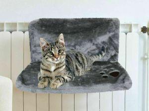 Cat Kitten Hanging Radiator Pet Bed Warm Fleece Basket Cradle Hammock Plush GREY