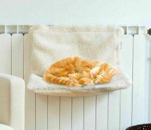 Cat Kitten Hanging Radiator Pet Bed Warm Fleece Basket Cradle Hammock Plush WHITE