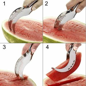 WATERMELON SLICER KNIFE MELON CUTTER SPLITTER CORER AND SERVER KITCHEN TOOL
