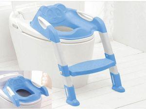 TEDDIE KIDS BABY CHILD TODDLER POTTY LOO TRAINING TOILET SEAT & STEP LADDER BLUE